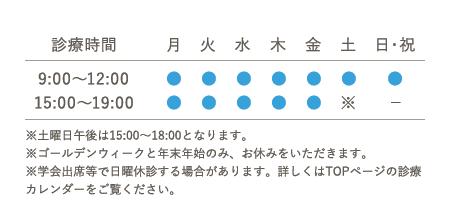 診療時間 9:00~12:00 15:00~19:00 ※土曜日午後は15:00~18:00となります。日・祝:午後休み